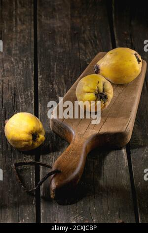 Three whole juicy quinces on old chopping board over wooden table in sunlight. Dark rustic style. - Stock Photo