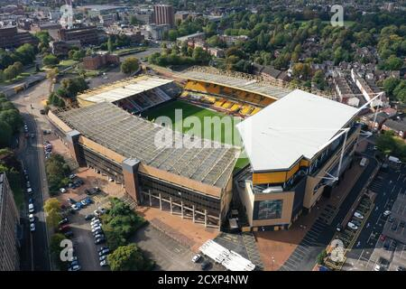An aerial view of Molineux Stadium home of Wolverhampton Wanderers in Wolverhampton. Stock Photo