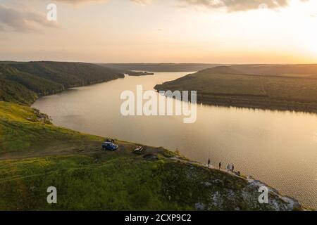 Aerial view of Dnister river and distant rocky hills in Bakota area, part of the National park 'Podilski Tovtry' in Ukraine Stock Photo