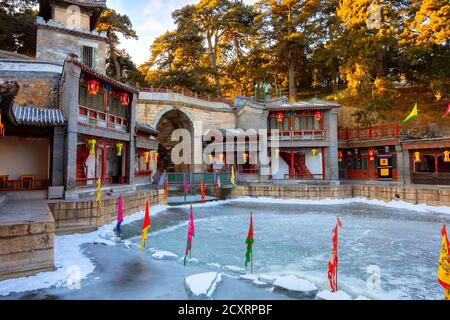 Beijing, China - Jan 13 2020: Suzhuo Market Street at the Beijing  Summer Palace, design imitates the ancient style of shops on the banks of rivers in - Stock Photo