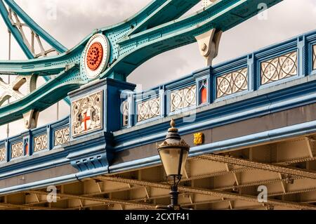 London, United Kingdom - September 14, 2017: The vibrant and colorful fragment of the famous Tower Bridge in London. Colored metal constructions of th - Stock Photo