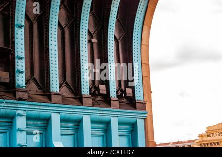 London, United Kingdom - September 14, 2017: The vibrant azure metal fragment of the famous Tower Bridge architecture in London - Stock Photo