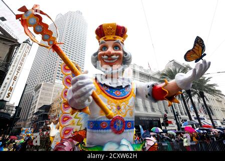 A float from the Krewe of Rex parade is seen on Mardi Gras in New Orleans, Louisiana March 4, 2014. REUTERS/Jonathan Bachman  (UNITED STATES - Tags: SOCIETY ENTERTAINMENT) - Stock Photo