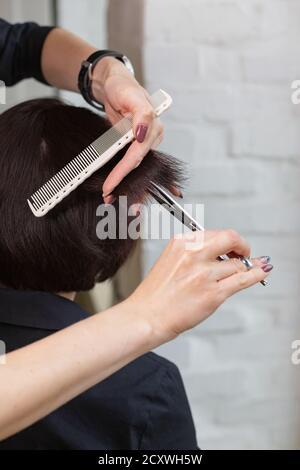 Hairdresser doing haircut. Professional hairdresser scissors, brush on workplace. Professional Hairdresser tools, equipment. Hairdresser service