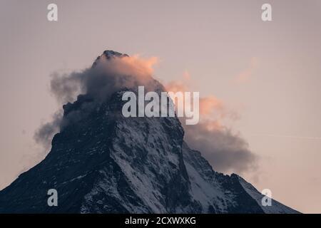 Last light of the sunset over the Matterhorn peak in Zermatt in Valais, Switzerland