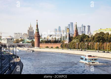 MOSCOW, RUSSIA - SEPTEMBER 27, 2020: view of Moscow city with Moskva river, Kremlin, Moscow-city and skyscraper of Ministry of Foreign Affairs from Bo - Stock Photo