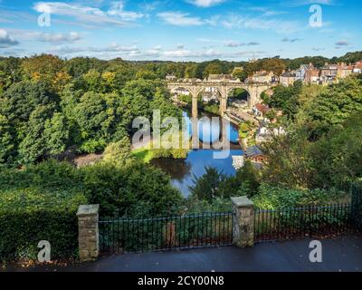 The Victorian railway viaduct across the River Nidd in early autumn Knaresborough North Yorkshire England