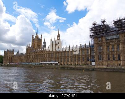 London's Magnificent Houses of Parliament the seat of Englands power. Westminster Palace with Big Ben Tower. House of Commons a Gothic Architecture.