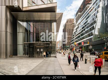 An entrance to the Shops at Hudson Yards in New York on Saturday, September 26, 2020 which formerly featured large Neiman Marcus signage. In bankruptcy, Neiman Marcus is vacated their location in Hudson Yards where it was the anchor tenant and has emerged from bankruptcy.  (© Richard B. Levine) - Stock Photo