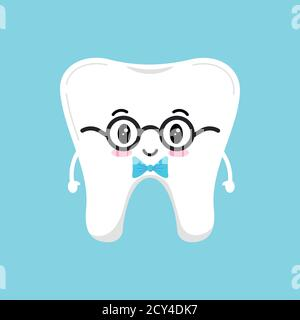 Stylish cute tooth in glasses with blue bow tie.