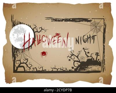 Vector Halloween illustration with hand drawn lettering on old paper background. - Stock Photo