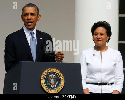 U.S. President Barack Obama announces Penny Pritzker (R) as his new nominee for the U.S. Secretary of Commerce while in the Rose Garden at the White House in Washington May 2, 2013.      REUTERS/Larry Downing  (UNITED STATES - Tags: POLITICS BUSINESS) - Stock Photo