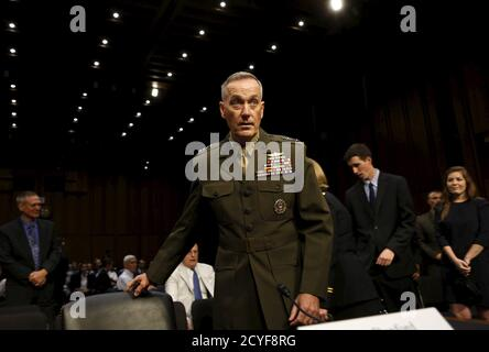 Marine Corps Gen. Joseph Dunford arrives at the Senate Armed Services committee nomination hearing to be chairman of the Joint Chiefs of Staff on Capitol Hill in Washington July 9, 2015. REUTERS/Yuri Gripas - Stock Photo