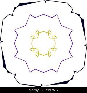 Abstract random geometry shape. Generative art geometric zig-zag, criss-cross angular, edgy illustration. Weird, strange colorful design element