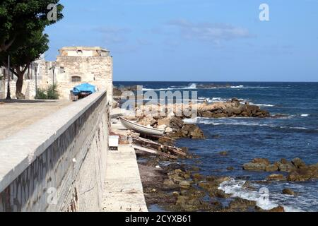 Sea view from the harbour wall Trapani, Sicily