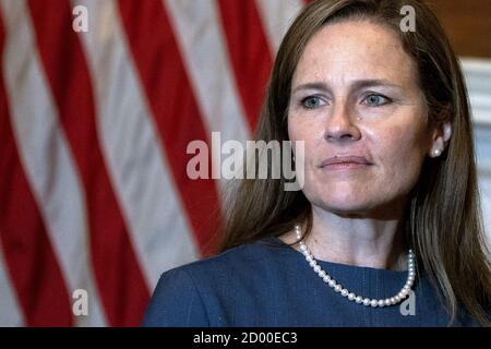 Washington, United States. 02nd Oct, 2020. Judge Amy Coney Barrett, President Donald Trump's Supreme Court nominee, meets with U.S. Senator Mike Lee (not shown) at the U.S. Capitol on Tuesday, September 29, 2020 in Washington, DC. Senate Lee has tested positive for coronavirus it was announced on Friday, October 2, 20020. Earlier today it was announced that President Donald Trump and First Lady Melania Trump have tested positive for coronavirus (COVID-19). Photo by Stefani Reynolds/UPI Credit: UPI/Alamy Live News - Stock Photo
