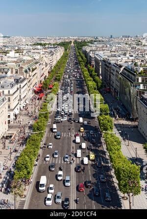 View down the Avenue des Champs Élysées from the top of the Arc De Triomphe in Paris.