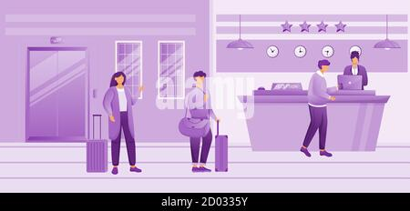 Hotel reception flat vector illustration. People with baggage waiting for check in. Receptionist at front desk registrating guests in lobby. Tourists - Stock Photo