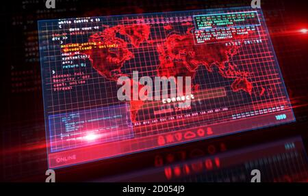Earth globe map on computer screen. Global business, networking, globalization, connection and cyberspace concept 3d illustration. Stock Photo
