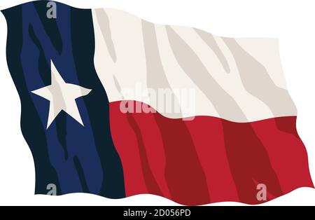 Texas State Flag Waving Isolated Vector Illustration - Stock Photo