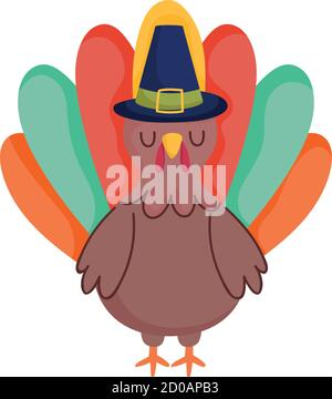 turkey cartoon bird with pilgrim hat isolated icon design vector illustration - Stock Photo