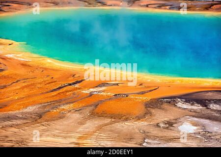 Grand Prismatic Hot Spring, Midway Geyser Basin, Yellowstone National Park, Wyoming, USA Stock Photo