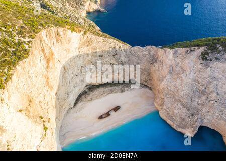 Zakynthos, Greece - September 20, 2020: Zakynthos island Greece shipwreck Navagio beach drone view aerial photo in Greece. - Stock Photo