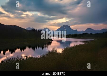 Mount Moran and the Oxbow Bend of the Snake River, Grand Teton National Park, Wyoming, USA