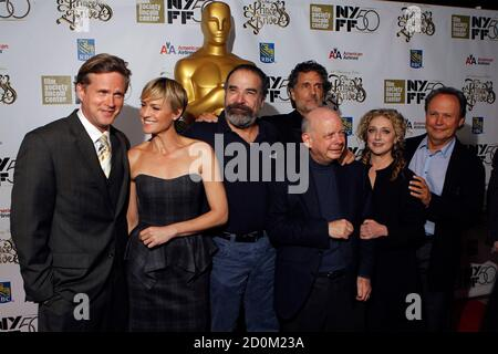 Cast members (L-R) Cary Elwes, Robin Wright, Mandy Patinkin, Wallace Shawn, Chris Sarandon, Carol Kane, and Billy Crystal of the Princess Bride pose for a photograph as they arrive for a special 25th anniversary viewing of the film during the New York Film Festival in New York, October 2, 2012. REUTERS/Lucas Jackson (UNITED STATES - Tags: ENTERTAINMENT)