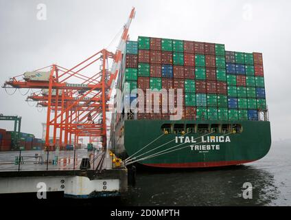 A container ship is seen at a port in Tokyo May 21, 2014. Japan's exports rose for the 14th straight month in April but shipments to the United States slowed, underlining concerns that the world's third-largest economy remains vulnerable to any fall in external demand. REUTERS/Toru Hanai (JAPAN - Tags: BUSINESS MARITIME) - Stock Photo