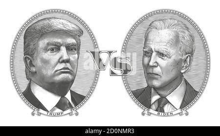 Donald Trump vs Joe Biden. Debate between the incumbent President of USA and his 2020 election rival. Vector portraits of politicians.Vintage style. - Stock Photo