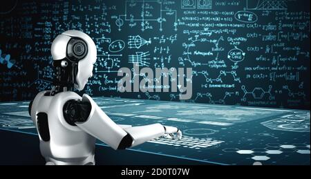 Robot humanoid use laptop and sit at table for engineering science studying using AI thinking brain , artificial intelligence and machine learning