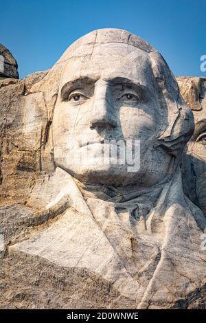 Portrait of George Washington on Mount Rushmore, South Dakota