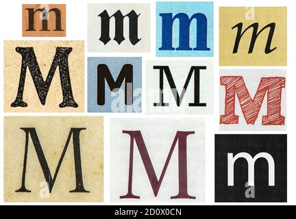 Paper cut letters. Old newspaper magazine uppercase cutouts