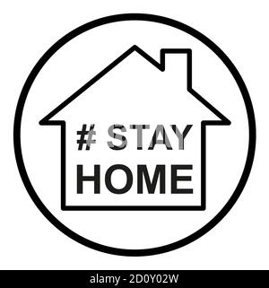 Stay home  icon, house symbol, quarantine covid virus vector illustration isolated on white background .