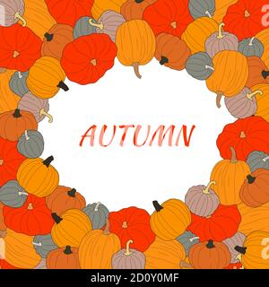 Autumn text vector banner with colorful pumpkins on transparent background. Vector illustration on doodle style. Decoration for greeting cards, poster Stock Photo