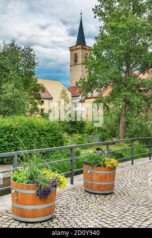 View to the half-timbered houses of the Kraemerbruecke and to the tower of the Aegidienkirche, Erfurt, Thuringia, Germany, Europe - Stock Photo
