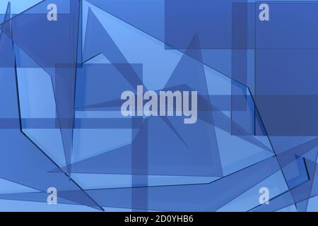 Abstract 3D background consisting of translucent blue glass fragments with sharp corners of fragments of geometric shapes