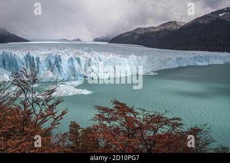 Excursion from El Calafate, 80kms to the north, to the impressive ice front of Glaciar Perito Moreno. The ice front is very active and calves. - Stock Photo