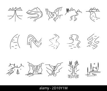 Simple vector valleys, rivers and mountains icons shapes set. Logo creation kit. Outdoor adventure line art elements bundle. Silhouette linear concept - Stock Photo