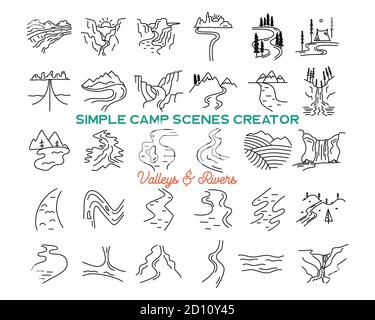 Simple vector mountains valleys and rivers icons shapes set. Logo creation kit. Outdoor adventure line art mountain elements bundle. Silhouette linear - Stock Photo