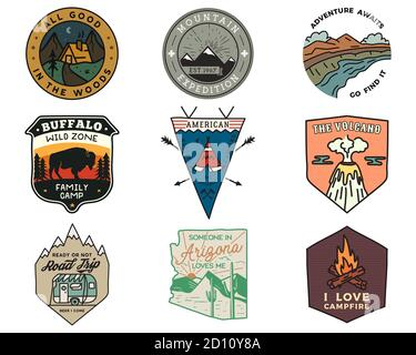 Vintage mountain camping badges logos set, Adventure patches. Hand drawn stickers designs bundle. Travel expedition, hiking labels. Outdoor sports - Stock Photo