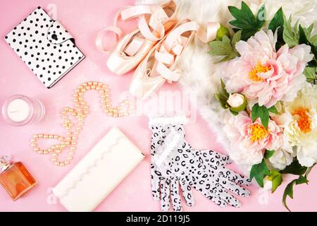 Pointe Ballet Shoes Aesthetic Theme Desktop Workspace Background On Stylish Pink Textured Background Top View Blog Hero Header Creative Composition F Stock Photo Alamy