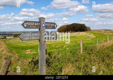 Ridgeway long distance footpath signpost on chalk scarp slope Hackpen Hill, Wiltshire, England, Uk - Stock Photo