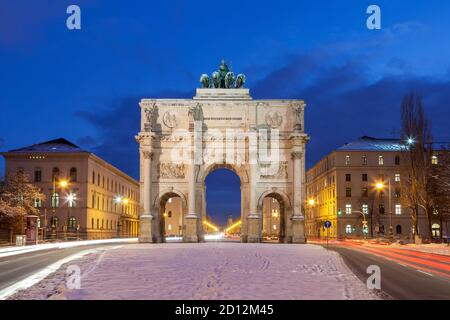 geography / travel, Germany, Bavaria, Munich, view at Siegestor (Victory Gate) into town with Leopolds, Additional-Rights-Clearance-Info-Not-Available
