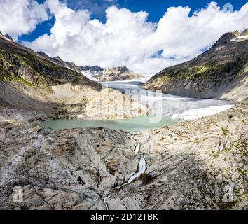 The Rhone Glacier, the source of the Rhone at Furka Pass in Switzerland - Stock Photo