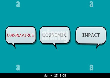 the text coronavirus economic impact in some speech balloons on a blue background