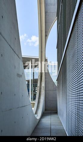 Part of the façade of the Marie Elisabeth Lüders Haus with the Paul Lobe Haus (Deutscher Bundestag) in the background at Berlin's government district
