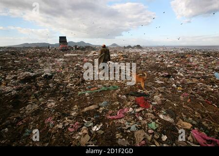 A man collects recyclable materials from Managua's municipal garbage dump, known as 'La Chureca', December 11, 2009. The dump is located near Xolotlan Lake, also known as Lake Managua. The lake, which has an area of about 1000 sq km, has been receiving raw sewage from Managua's one million residents since 1920. Nicaragua plans to clean up the lake by building a raw sewage treatment plant with German government aid amounting to around $20 million.  REUTERS/Oswaldo Rivas (NICARAGUA ENVIRONMENT IMAGES OF THE DAY) - Stock Photo