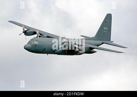A Royal Canadian Air Force (RCAF) CC-130 Hercules transport plane performing at Airshow London Skydrive 2020 in London, Ontario, Canada. - Stock Photo